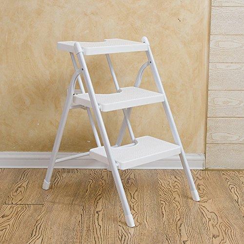Dos Tres Pasos Escalera Plegable Escalera Antideslizante Taburete Silla Blanca Pedales para el hogar Herringbone Dual Use Indoor (Color : 3 Step)
