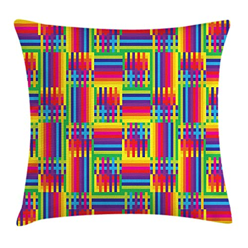 Rainbow Jersey-shorts (VTXWL Vintage Rainbow Throw Pillow Cushion Cover, Horizontal and Vertical Short Lines Vibrant Colored Mosaic Striped Pattern, Decorative Square Accent Pillow Case, 18 X 18 inches, Multicolor)