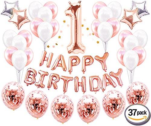 JeVenis erste Geburtstagsparty Dekoration Kit Süße Herz eine Alles Gute zum Geburtstag Ballons Banner perfekte 1st Party Supplies - Mädchen Party 1 Supplies Birthday