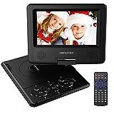 7.5'' Tragbarer DVD-Player, 5 Stunden Akku, schwenkbarer Bildschirm, unterstützt SD-Karte und USB, mit Spiele-Joystick, Auto-Ladegerät - Schwarz