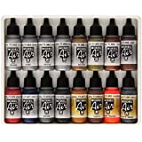 Vallejo Model Air Metallic Effects Acrylic Paint Set for Air Brush - Assorted Colours (Pack of 16)