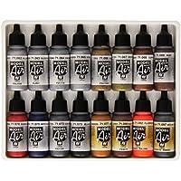 Vallejo Lot de 16pots de peinture acrylique pour Air Brush Couleurs assorties Effet métallisé