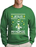 Green Turtle T-Shirts Jesus is My Homie - Cooles Weihnachtsmotiv Herren Weihnachtspulli Sweatshirt Medium Grün