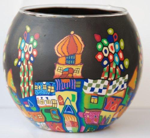 Leuchtglas mit Teelicht Motiv 25 Bunte Stadt schwarz/11cm