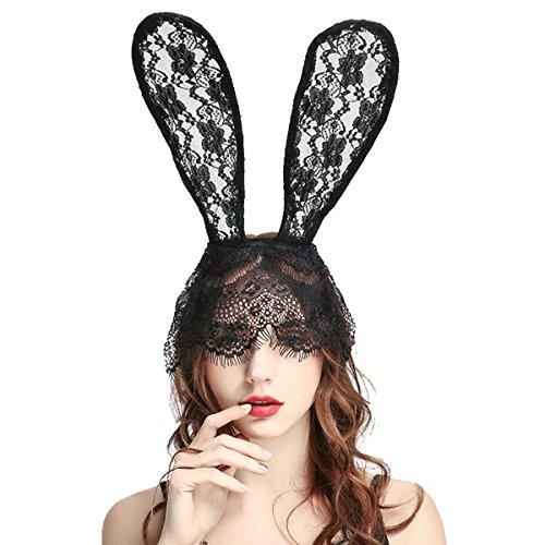 Tukistore Bunny Rabbit Ears Venezianischen Filigranen Lace Veil Kostüm Maskerade Maske Stirnband für Hochzeit Cosplay Kostüm Zubehör