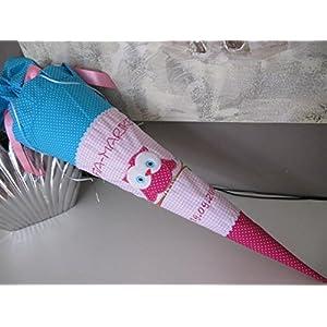 Eule Uhu pink-türkis-rosa Schultüte Stoff + Papprohling + als Kissen verwendbar