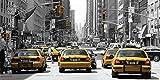 Artland Qualitätsbilder I Wandtattoo Wandsticker Wandaufkleber 60 x 30 cm Städte Amerika Newyork Foto Schwarz Weiß B9NB Taxis in New York