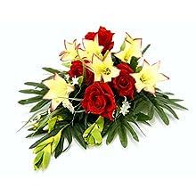 Flair Flower - Decorazione tombale con gigli artificiali, decorazione per tomba con rose, 70 x 34 x 20 cm, colore: rosso/bianco