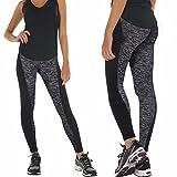 Modische Hoher Bund Yoga Leggings Fitness Hosen Sportbekleidung Workout für Yoga Joggen Schwarz XXL