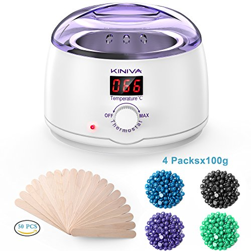 Wax Warmer mit LCD Bildschirm, Kiniva haarentfernung wachs Wachswärmer Kit mit 4 verschiedene Aromen Bean & 50 pcs Holzspatel , Tragbar warmwachsgerät Wax Heater kann auch die Haut - Zu Fuß Kit Hause Zu