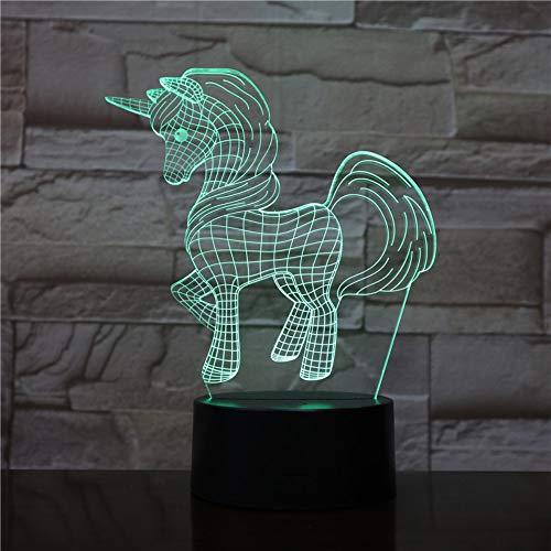 NEW Animal Pony Unicorn 3D LED Lamp Night Light Bulb Christmas Decorative Gift Cartoon Toys (Lights Christmas Bulb)