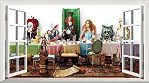 Alice in Wonderland 2 Alice Through the Looking Glass Mad Hatters Tea Party Full Colour Magic Window Image Wall Sticker Mural Poster size 1000mm wide x 600mm deep (large) V003
