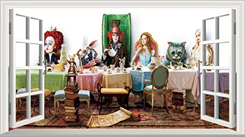 Chicbanners Alice in Wonderland 2Alice Through The Looking Glas Mad Hatters Tee Party Voll Farbe Magic Fenster Bild Wandtattoo Wandbild Poster Größe 1000mm breit x 600mm tief (groß) V003 (Looking Farbe Glass)
