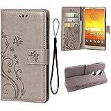 Teebo Wallet Case for Motorola MOTO E5, 3 Card Holder Embossed Butterfly Flower PU Leather Magnetic Flip Cover For Motorola MOTO E5(Grey)