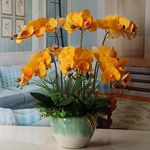 Jnseaol Kunstblumen Orchidee Keramiktopf Diy Hochzeit Hotel Party Küche Fensterbank Eine Große Dekoration Muttertag Geschenk Gelb -07