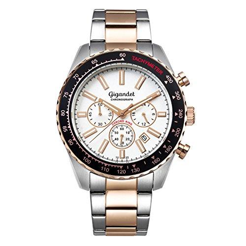 Gigandet Chrono King Reloj Hombres Cronógrafo Analógico Quarzo Plata Dorado Rojo G28-009