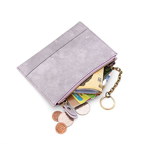 Woolala Women Slim Small Chain Wallet Vegan Leather Card Change Holder Short Purse, Purple (Slim Womens Short)