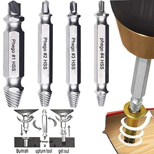 Phego 4-teilig Schraubenausdreher-Set ,Schraubenausdreher-Set zum Entfernen beschädigter Schrauben Schraubenentferner