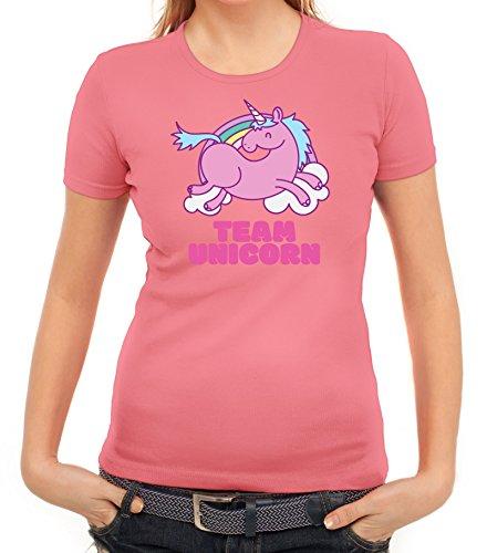 Einhorn Damen TShirt mit Team Unicorn Motiv von ShirtStreet Rosa ... 802f5c53ec
