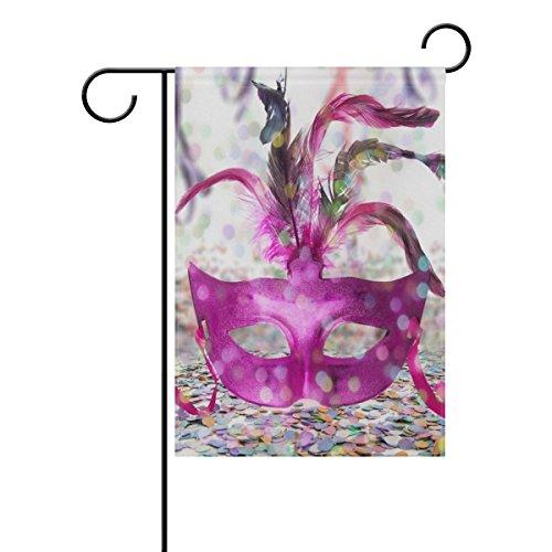 ALAZA Doppelseitiges Karneval Party Time Pink Federn Maske Polyester Haus Garten Flagge Banner 30,5 x 45,7/71 x 101,6 cm für Hochzeit Party Allwetter, Polyester, Multi, 12x18