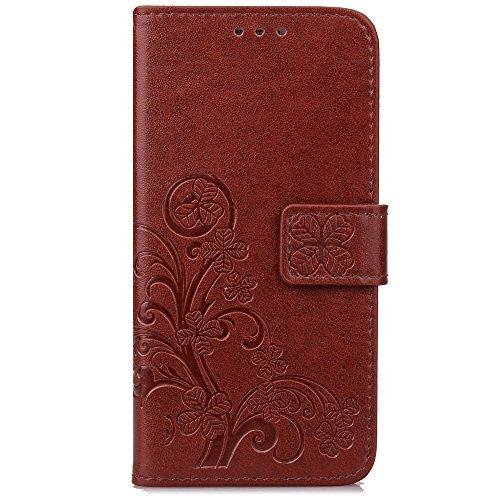 Guran® Funda de Cuero PU para LG L70 Smartphone Función de Soporte con Ranura para Tarjetas Flip Case Trébol de la suerte en Relieve Patrón Cover - Marrón