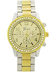 Reloj de mujer - Geneva Cristal Unisexo Acero inoxidable Reloj de pulsera de cuarzo Plata con oro