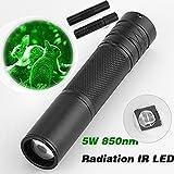AmyGline LED Taschenlampe Schwarz 5W 850nm LED Infrarot IR Taschenlampe Zoomable Nachtsichtgerät Taschenlampe
