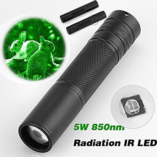 AmyGline LED Taschenlampe Schwarz 5W 850nm LED Infrarot IR Taschenlampe Zoomable Nachtsichtgerät Taschenlampe -