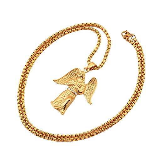Mcsays, collana color oro in acciaio inox con ciondolo a forma di angelo, accessorio alla moda