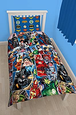 "Character World 91 cm Single ""Justice League Invincible"" Rotary Duvet Set, Multi-Colour - cheap UK light shop."