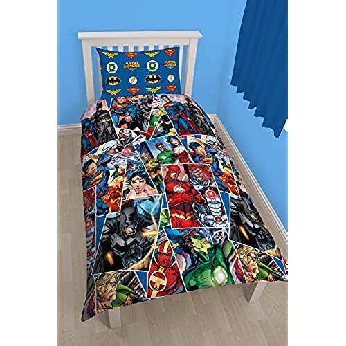 Character World 91 Cm Single Justice League Invincible Rotary Duvet Set,  Multi Colour