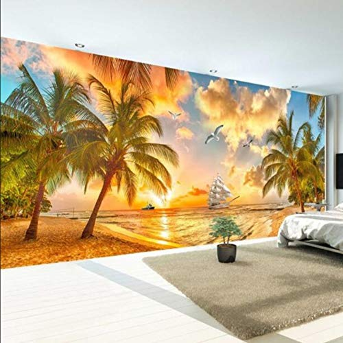 Pared Mural Wallpaper Beach Sunset Coconut Tree Nature Landscape Foto Telón De Fondo Sala De Estar Fondos (W)200*(H)140cm Un