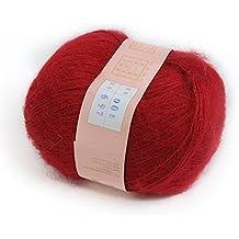 tia-ve 1pcs suave Natural Angola Mohair Cachemira lana para tejer madejas hilo – rojo