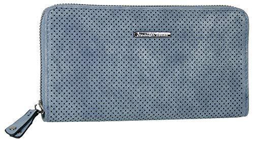 Jennifer Jones Große Schmale Damen Geldbörse Clutch-Portemonnaie mit umlaufendem Reißverschluss viel Stauraum Kartenfächer Münzfach Fotofach (Blau) -