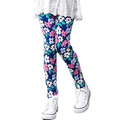 FNKDOR Baby Mädchen Leggings, Kinder Bunt Blume Hosen Silm Fit Leggins (Länge: 55cm; Höhe: 090-095cm, Blau)