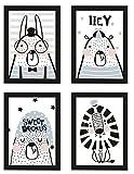 PICSonPAPER Kinder Poster 4er-Set Tiere, gerahmt DIN A4, Dekoration fürs Kinderzimmer im skandinavischen Stil, Kinderposter, Poster mit Rahmen (Mit IKEA FISKBO schwarz)