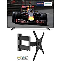 Hisense 50 - Inch Widescreen 4K Smart LED TV with Freeview HD + Invision® Ultra Slim Tilt Swivel TV Wall Bracket Mount - For 24 - 55 Inch TVs - Now Includes 1.8m HDMI Cable