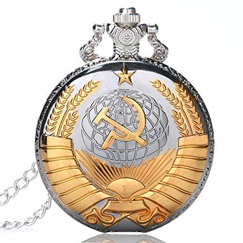 Golden sowjetischen Symbol Taschenuhr, russischer Stil Geschenke Uhren, silber Pocket Watcher für Herren