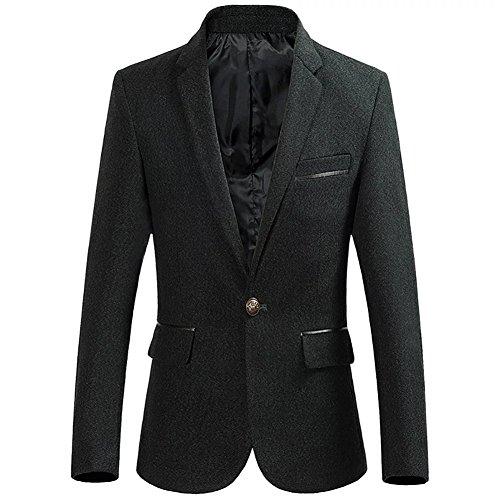 BiSHE Mens eine Schaltfläche Tweed Blazer Mantel Smart formales Abendessen Baumwolle Anzüge Jacket Herren (Baumwoll-tasche Blazer Klappe Mit)