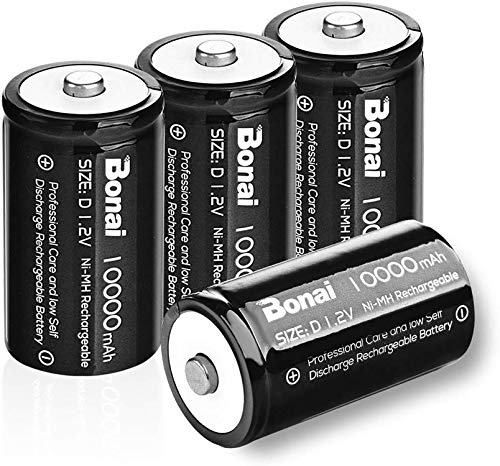 BONAI Akku 10000mAh Mono D Batterien,NiMH 1,2V wiederaufladbar D Akkubatterien mit geringer Selbstentladung & Lange Lebensdauer (4 Stück)