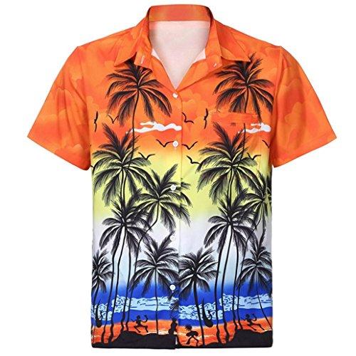 GreatestPAK Shirt Herren Kurzarm Top Fronttaschenbluse Beach Floral Printed Tee,Orange,XXL