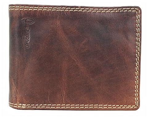 PEDRO Echt-Leder Herren Geldbörse Portemonnaie Brieftasche Portmonee Geldbeutel Kredit-Kartenetui Wallet Vintage hochwertig Organizer Reisebrieftasche 32008W
