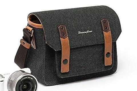 Herringbone Papas3 Sacoche Sac Bandoulière reflex sac d'épaule sac pour Appareil Photo Numérique Canon/Nikon/Sony/Panasonic H1117 Charcoal Small