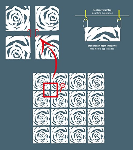 koziol Raumteiler  Romance,  Kunststoff, transparent rot, 0.4 x 26.9 x 27 cm,4er Set - 4