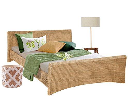 Loft24 NINA Bett 180x200 cm Bettgestell Rattanbett Doppelbett Ehebett Polyrattan Schlafzimmer Landhaus (Natur)