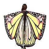 OVERDOSE Frauen 197 * 125CM Weiche Gewebe Schmetterlings Flügel Schal feenhafte Damen Nymphe Pixie Kostüm Zusatz (197 * 125CM, B-Gelb(168 * 135CM))