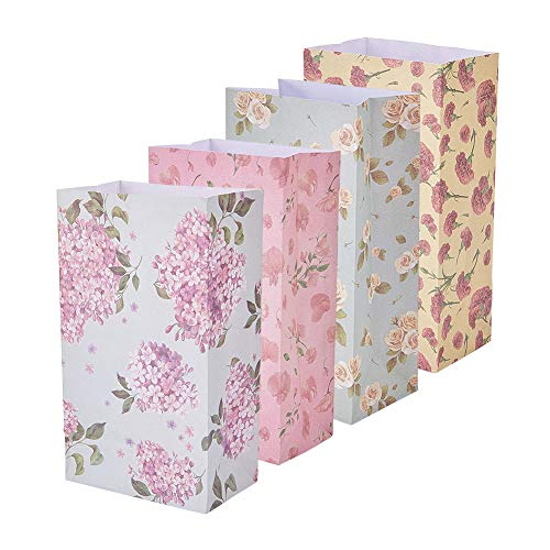 PandaHall Elite - 24st Geschenkbeutel in Papiertüte Blumen Geschenk Kraftbeutel Beutel Geschenkverpackung Keks mit Aufkleber im Muster Bunte Blumenart, 23x13cm