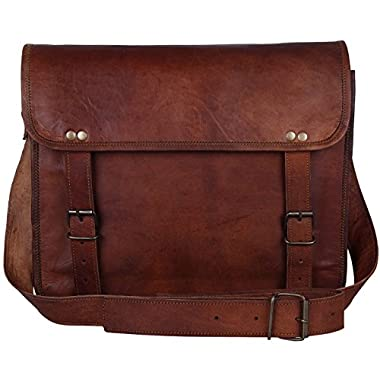 Rustic Town 13″ Genuine Leather Handmade Crossbody Messenger Satchel Laptop Bag – Perfect for 14 inch and Smaller Laptops (Brown)