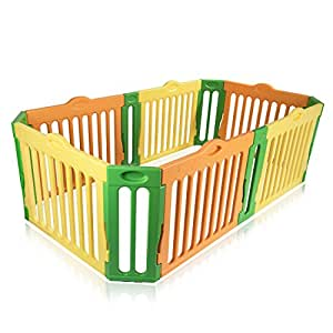 Baby Vivo Baby Plastic Playpen 4-Side Rectangle Foldable Portable Room Divider Child Kids Barrier Expandable Main Package New - Model 2017