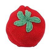 SEVENHOPE Weiche Warme Gestrickte Säuglingskleinkindmützen Mütze Baby Wolle Strickmütze Herbst Winter Erdbeere Gestalten Design (Rot)